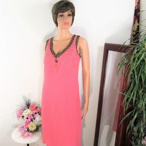 NOS Newport News Dusty Pink Bead Embellished Shift